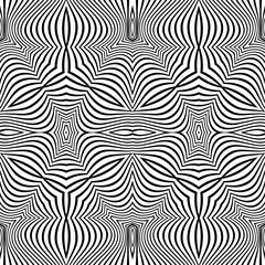 optical art abstract striped seamless deco pattern.