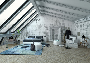 Vaulted ceiling bedroom with wooden floor