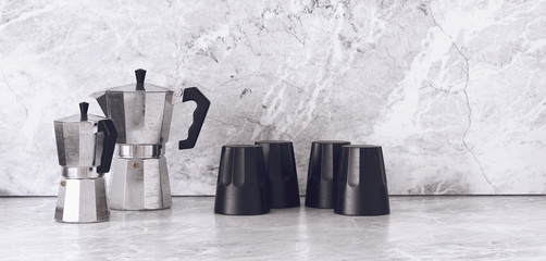 Unique sets of coffee pots and cups