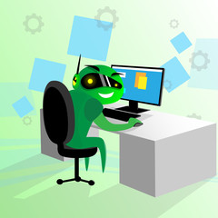 Green Robot Sit Desk Using Computer Technology