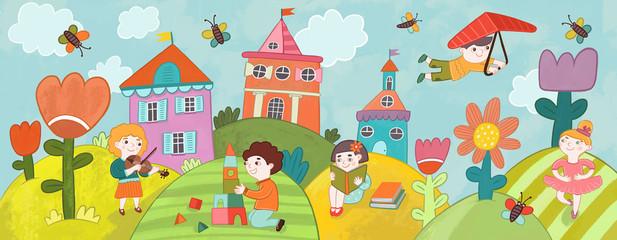 Дети занимаются разными видами искусства: музыка, чтение, балет, игра.