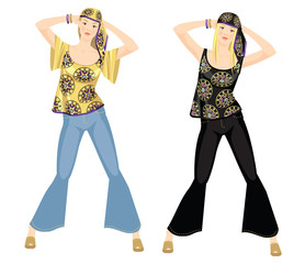 Vector illustration of hippie girl in jeans and blouse with ethnic ornament. Pretty blonde woman in headscarf isolated on white background. The image of a girl in the style of the sixties