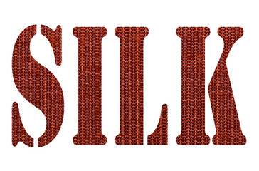 Silk letter by using red silk texture for pattern