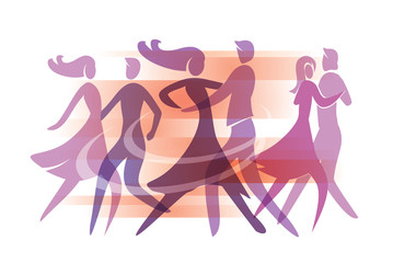 Dancing couples. Colorful illustration with silhouettes of dancing couples. Vector available.