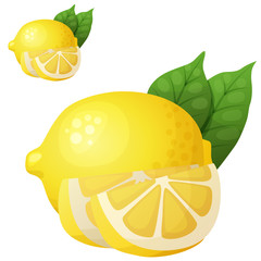 Lemon. Cartoon vector icon isolated on white background. Series of food and drink and ingredients for cooking.