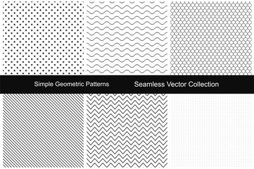 Collection of simple seamless patterns.
