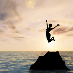 Conceptual woman silhouette jumping at sunset