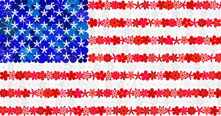 Floral mosaic flag of the USA