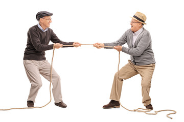 Two seniors competing in a tug of war