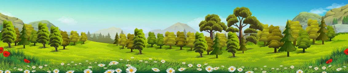 Door stickers Pistachio Meadow and forest, nature landscape, vector background