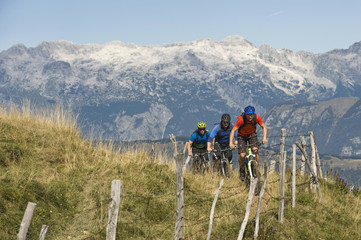 Slovenia, Istria, Matajur, three mountain bikers on the way uphill