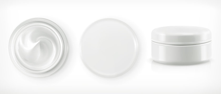 Round packaging of cream, vector object