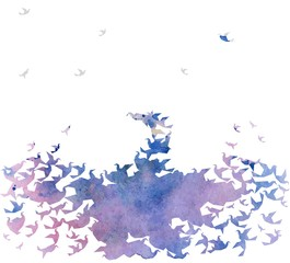 watercolor silhouette of the bird. Vector background.
