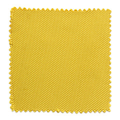 yellow fabric swatch samples isolated on white background
