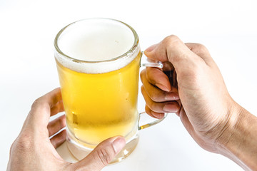 man hand holdin frosty glass of light beer for drinking on a white background