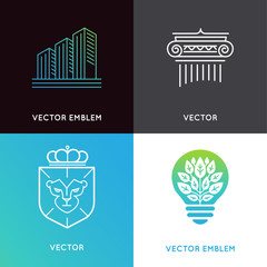 Vector set of logo design templates and emblems - business and f