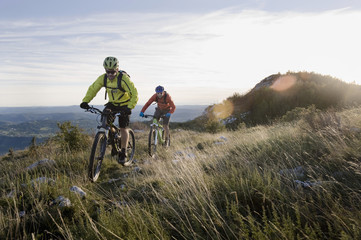 Slovenia, Istria, Vipava valley, two mountain bikers on the way downhill