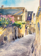 Small, narrow street in old city of Le Mans,France. Picture created with watercolors.