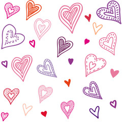 Seamless pattern with hearts. Hand draw vector illustration in doodle style.