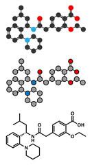 Repaglinide diabetes drug molecule.