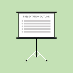 presentation board with outline list green background