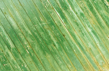 Grungy green wooden fence texture.