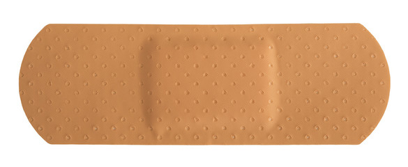 Single adhesive bandage on white background