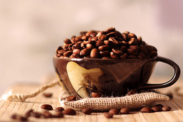 Cup with coffee grains