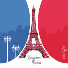 French architecture landmark illustration. Eiffel tower in Paris on France flag background.