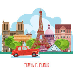 Ffrench poster. Sightseeing of Paris and France. Romantic tourist card in vintage style. French cuisine, wine, fashion and culture