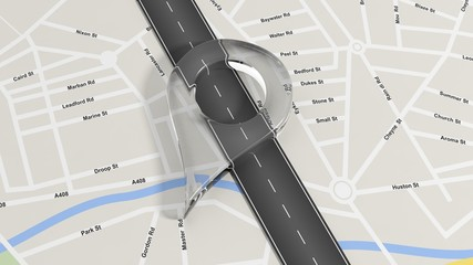 Map with zoom on road with big glass pointer