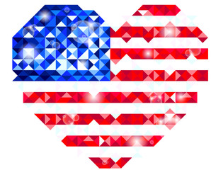 Vector of Heart shaped US flag