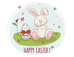 Happy Easter! Easter bunny and egg in grass. Vector greeting car