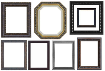 Set of black vintage frame isolated on white background
