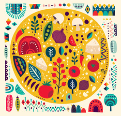 Art vector colorful illustration with pizza and other elements