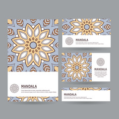 Set of ornamental cards with flower mandala in beige, blue, white colors. Vintage decorative elements. Indian, asian, arabic, islamic, ottoman motif. Vector illustration.