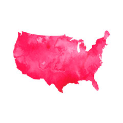 Watercolor map of United States. Vector graphic design
