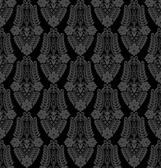 Black damask vintage floral pattern, vector illustration.