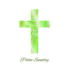 Palm Sunday cross isolated on white background.