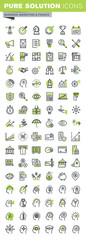 Thin line icons set of banking, insurance, affiliate marketing, business workflow, career opportunities, team skills, management. Premium quality outline icon collection.