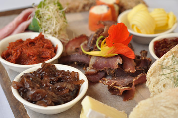 Biltong, cold meat and bread tray
