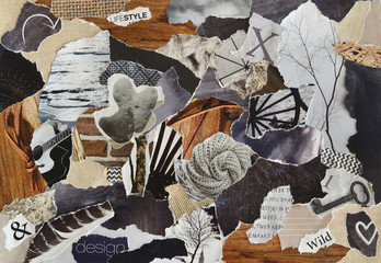 life style Atmosphere color grey, brown, black and black mood board collage sheet made of teared magazine paper with figures, letters, colors and textures, results in art