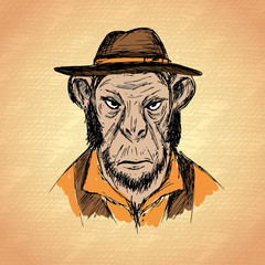 Hand Drawn Fashion Portrait of Monkey Hipster