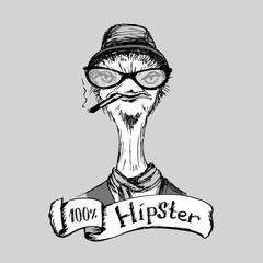 Hand Drawn Fashion Portrait of ostrich Hipster