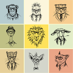 Hand Drawn set  nine animal  Hipster