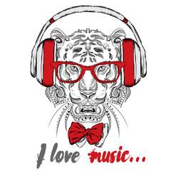 Tiger headphones. Hipster. Tiger in the ethnic style. Batik.