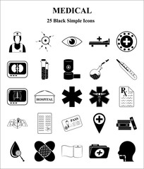Medical 25 icons set for web and mobile