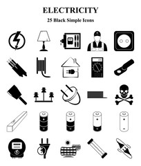 Electricity 25 icons set for web and mobile
