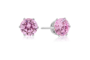 Flawless 2ct Pink Diamond Studs in 14k White Gold