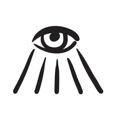 Hand drawn eye symbol vector icon illustration .
